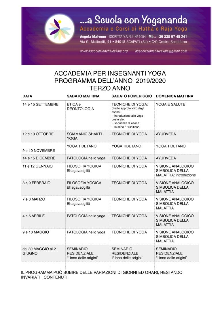 Accademia- programma 2019:2020 terzo anno